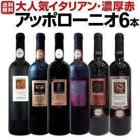 【送料無料】大人気イタリアン【アッポローニオ】濃厚赤ワインセット 6本! ワイン ワインセット セット 赤ワインセット 赤ワイン 赤 飲み比べ ギフト プレゼント 750ml 父の日