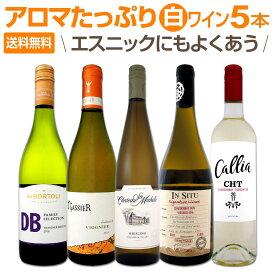 【送料無料】超お買い得!アロマたっぷりの白ワイン5本セット!