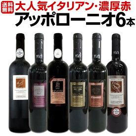 【送料無料】大人気イタリアン【アッポローニオ】濃厚赤ワインセット 6本! ワイン ワインセット セット 赤ワインセット 赤ワイン 赤 飲み比べ ギフト プレゼント 750ml