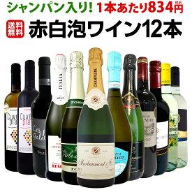 【送料無料】39%OFF!!シャンパン入り!1本あたり834円(税別)!お得感たっぷり泡多めのプチ贅沢スペシャルホームパーティー赤白泡ワイン12本!