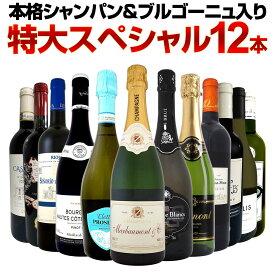 【送料無料】第6弾!本格シャンパン&ブルゴーニュ入り!特大スペシャル12本セット! ワイン ワインセット セット 赤ワインセット 赤ワイン 白ワインセット 白ワイン スパークリングワインセット 飲み比べ ギフト プレゼント 辛口 750ml