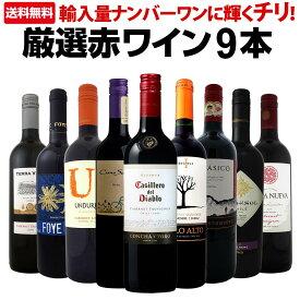 【送料無料】今や輸入量ナンバーワンに輝くチリ!厳選赤ワイン9本セット!