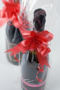 ラッピング ワイン 袋 透明袋&リボン(リボン:ローズ)
