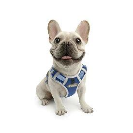 TUFF HOUNDハーネス メッシュ素材 通気性一番 軽量 小型犬 中型犬 大型犬 胴輪 調節可能 散歩用 胴回り38-52cm(S, ブルー)
