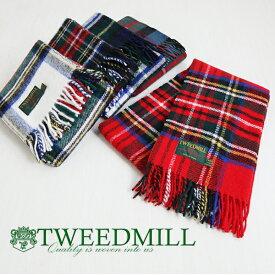 TWEED MILL ツイードミル tweedmill7 タータンストール チェック マフラー ウール 暖かい 厚手 マフラー ゆったり ナチュラル 服
