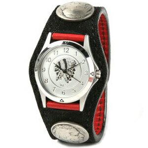 KC,s kcs ケーシーズ ケイシイズ 腕時計 メンズ レディース 象革 革 レザー: レザーブレスウォッチ 3コンチョ エレファント【ブラック】