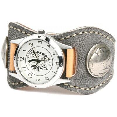 腕時計 メンズ 象革 レザー KC,s kcs ケーシーズ ケイシイズ: レザーブレスウォッチ エスパニョーラ エレファント【グレー】