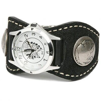 腕時計 メンズ 象革 レザー KC,s kcs ケーシーズ ケイシイズ: レザーブレスウォッチ エスパニョーラ エレファント【ブラック】