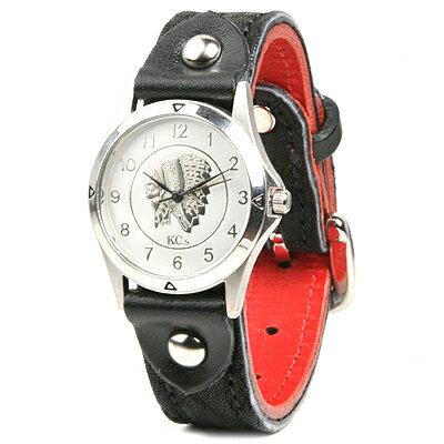 腕時計 革 レザー KC,s kcs ケーシーズ ケイシイズ : レザーブレスウォッチ バックル エレファント メンズ【ブラック】
