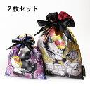 【メール便商品2個以上で送料無料!】yoshikitty サテン巾着2枚セット 薔薇/炎ポーチ 化粧ポーチ 小物入れ 巾着 リボ…
