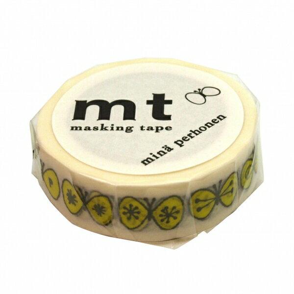 【カモ井(カモイ)】mt mina perhonen マスキングテープ 1P【蝶々・イエロー】 MTMINA03 【あす楽対応】