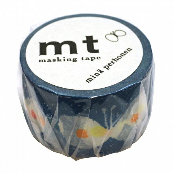 【カモ井(カモイ)】mt mina perhonen マスキングテープ 1P【hana hane・ブルー】 MTMINA20 【あす楽対応】