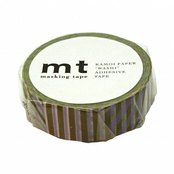 【カモ井(カモイ)】mtマスキングテープ 1P【ストライプチェック・グリーン】 MT01D120 【あす楽対応】