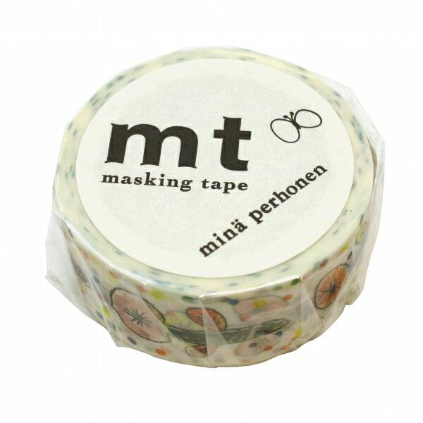 【カモ井(カモイ)】mt mina perhonen マスキングテープ 1P【flower・ホワイト】 MTMINA23 【あす楽対応】