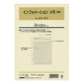 【日本能率協会/Bindex】A5サイズリフィル A5421 インフォメーションメモ(方眼 バインデックス A5421 【あす楽対応】
