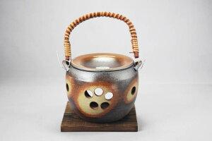 日本製つる付き茶香炉 [万古焼/萬古焼/陶磁器/和風/アロマ/茶葉/ブラウン]