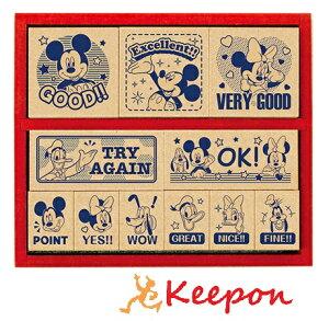 ミッキーマウス 木製ごほうびスタンプENGLISH スタンプ/ビバリー/木/かわいい/ハンコ/先生/応援/ディズニー/英語