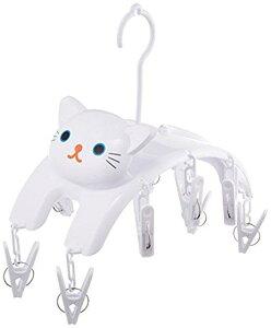 明邦 ねこの洗濯ばさみハンガー シロ 白 ME08 4956019110079 洗濯 洗濯ばさみ 部屋干し 猫 ネコ 物干し