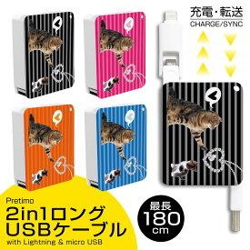 USBケーブル 2in1 充電・転送 巻取り式 Lightning ライトニングケーブル micro USB Type-B iPhone Android 最長180cm [猫 ネコ 子ネコ 仔猫 キャット CAT ボーダー柄 アクセサリー] 充電ケーブル リール式 タイプ-B 【送料無料】