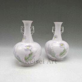 マーガレット花文ピンク地花瓶一対 1921年頃 - 1941年頃 通称:M-JAPAN印