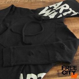 送料無料 FREE CITY フリーシティ デストロイ ヘビーウェイト プルオーバーパーカー AW DESTROY/SPLASH pullover hoodie ダメージ加工
