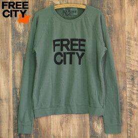 送料無料 FREE CITY フリーシティ FREECITY LNLrag ラグラン スウェット トレーナー グリーン