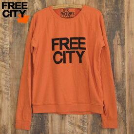 送料無料 FREE CITY フリーシティ FREECITY LNLrag ラグラン スウェット トレーナー オレンジ
