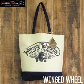 ジョンソンモータース キャンバス トートバッグ Johnson Motors Winged Wheel