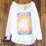 TRUNKLTD/TRUNKLOGOロゴ/レディースゆったりロングTシャツ