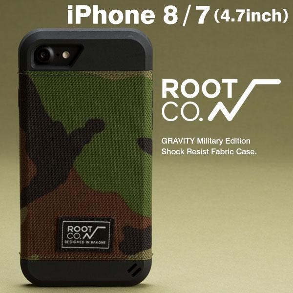 iPhone8 iPhone7ケース 耐衝撃 ROOT CO. GRAVITY Military Edition Shock Resist Fabric Case. ウッドランドカモ 【 アイフォン7 ケース スマホケース ブランド カモフラ iPhoneケース 】