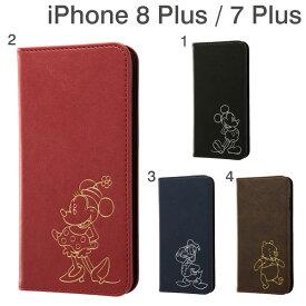 [iPhone 8 Plus/7 Plus専用]ディズニー 手帳型ケース ワンポイントタイプ(ホットスタンプ)