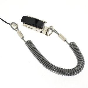 強力バンジーコイル 携帯ストラップ (スチールクリップタイプ/ブラック) 【 スマホ スマートフォン ケータイ 携帯 落下防止 ストラップ コイル 伸びる 】