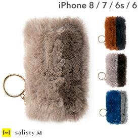 iphone8 ケース iPhone7 iPhone 6s iPhone6 カバー 手帳型 salisty(サリスティ)M フェイクファー ダイアリーケース【もこもこ ストラップホール付き ブランド おしゃれ Hamee】