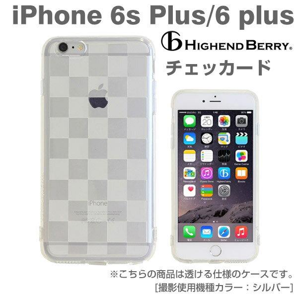 iPhone6sPlus iPhone 6 Plusケース Highend Berry TPU クリア ストラップホール&キャップ付き(チェッカード) 【 スマホケース 透明 ソフト ブランド アイフォン6プラス カバー iPhoneケース 】