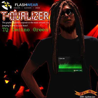 【 光るTシャツ 】 光るTシャツTコライザー [ テクノグリーン ] T-Qualizer ★ TQ Techno Green 【送料無料】【 音に合わせて光が動くTシャツ 】【 電気Tシャツ 】【メンズ / レディース 兼用 半袖】【 誕生日 プレゼントに】【RCP】