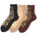 アンゴラ混 シースルーソックス ばら大 靴下 1袋(同色3足入り) 140-658