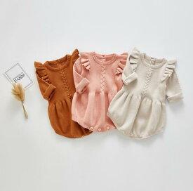 秋 ニット ベビーロンパース 女の子 男の子 ロンパース 3色 子供服 ベビー服60cm/70cm/80cm/90cm/100cm