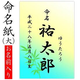 デザイン命名紙 (竹)【命名書台紙(大)専用】赤ちゃん 命名書 命名紙かわいい おしゃれ 代筆をお考えの方に人気用紙 お七夜 命名式 お祝い