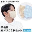 子供用布マスク2枚セット 綿100% 水玉 ベージュ・ブルー 【送料無料】 花粉 PM2.5 黄砂 インフルエンザ アレル…