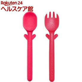 nenu(ネーヌ) スプーン+フォークコンボ レッド(1コ入)【nenu(ネーヌ)】