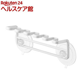 吸盤歯ブラシホルダー 5連 ミスト ホワイト(1個)