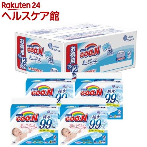 グーン 肌にやさしいおしりふき つめかえ用(70枚x12コ入)【グーン(GOO.N)】
