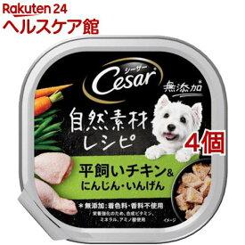 シーザー 自然素材レシピ 平飼いチキン&にんじん・いんげん(85g*4個セット)【シーザー(ドッグフード)(Cesar)】