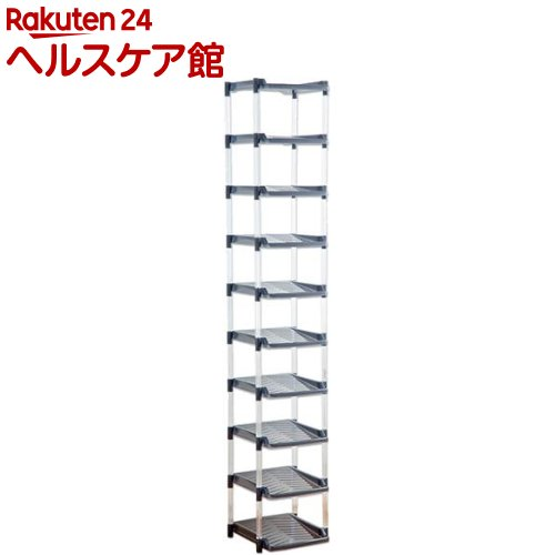 たっぷり収納 シューズラック 10段 グレー(1台)