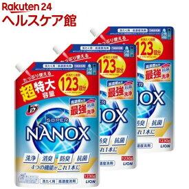 トップ スーパーナノックス 高濃度 洗濯洗剤 液体 詰め替え 超特大(1230g*3袋セット)【スーパーナノックス(NANOX)】