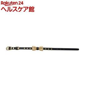 ペット用首輪 Sサイズ WO-068 黒/ゴールドリボン(1本入)