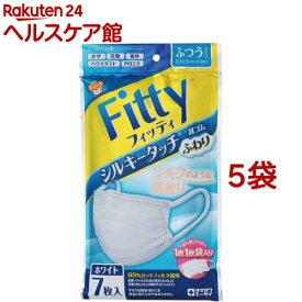 フィッティ シルキータッチ 耳ゴムふわり ふつうサイズ ホワイト(7枚入*5袋セット)【フィッティ】