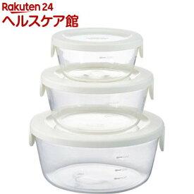 ハリオ 耐熱ガラス製 保存容器 丸 オフホワイト SYTN-2518-OW(3コ入)【ハリオ(HARIO)】