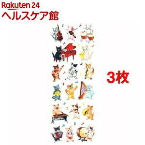 ラメ入りシール 猫の音楽隊(1シート*3コセット)