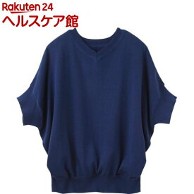 ゆったりドルマン5分袖 ニットセーター ネイビー L(1枚入)